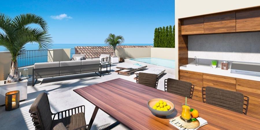Neugebautes Luxus-Stadthaus mit Dachterrasse und Meerblick in Molinar