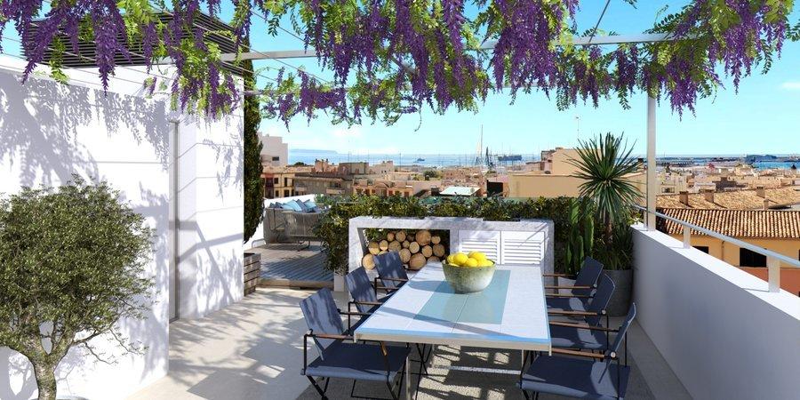 Lyxig takvåning med privat pool i Santa Catalina