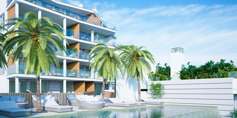 Panoramautsikt över havet i nybyggd lägenhet i Cala Mayor