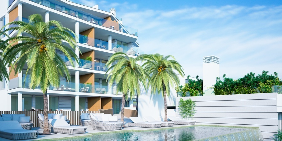 Panoramablick auf das Meer in Neubauwohnung in Cala Mayor