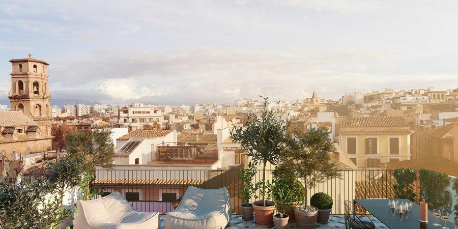 Neu gebaute Maisonette-Wohnung mit privater Dachterrasse in der Altstadt von Palma