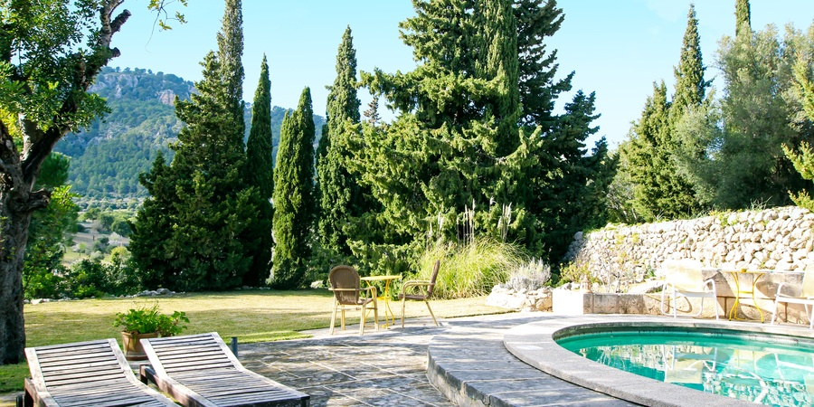 Charming atrium style house with pool and views in Es Capdella