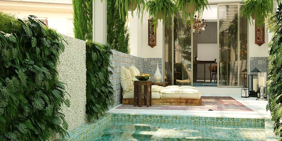 Proyecto de ensueño de casa adosada con jardín y piscina en Santa Catalina