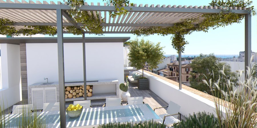 Unik New York style loft med takterrass, pool och parkering i Santa Catalina