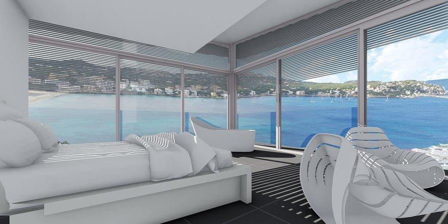 Modern villa med panorama utsikt över Santa Ponsa bukten