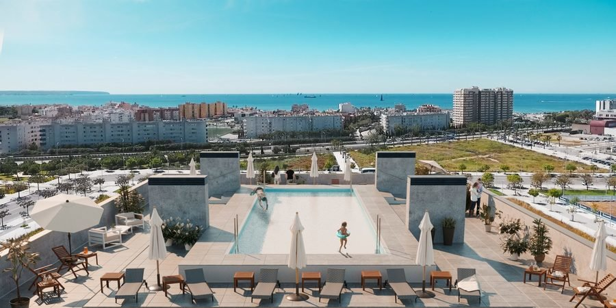 Moderno piso con vistas al mar y piscina comunitaria en Nou Llevant